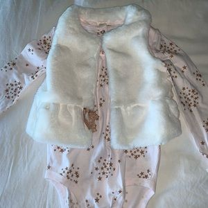 White fur vest with matching staronesie